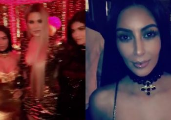 Kim Kardashian Wears a Lip Ring to Kardashian Christmas Party 2016!